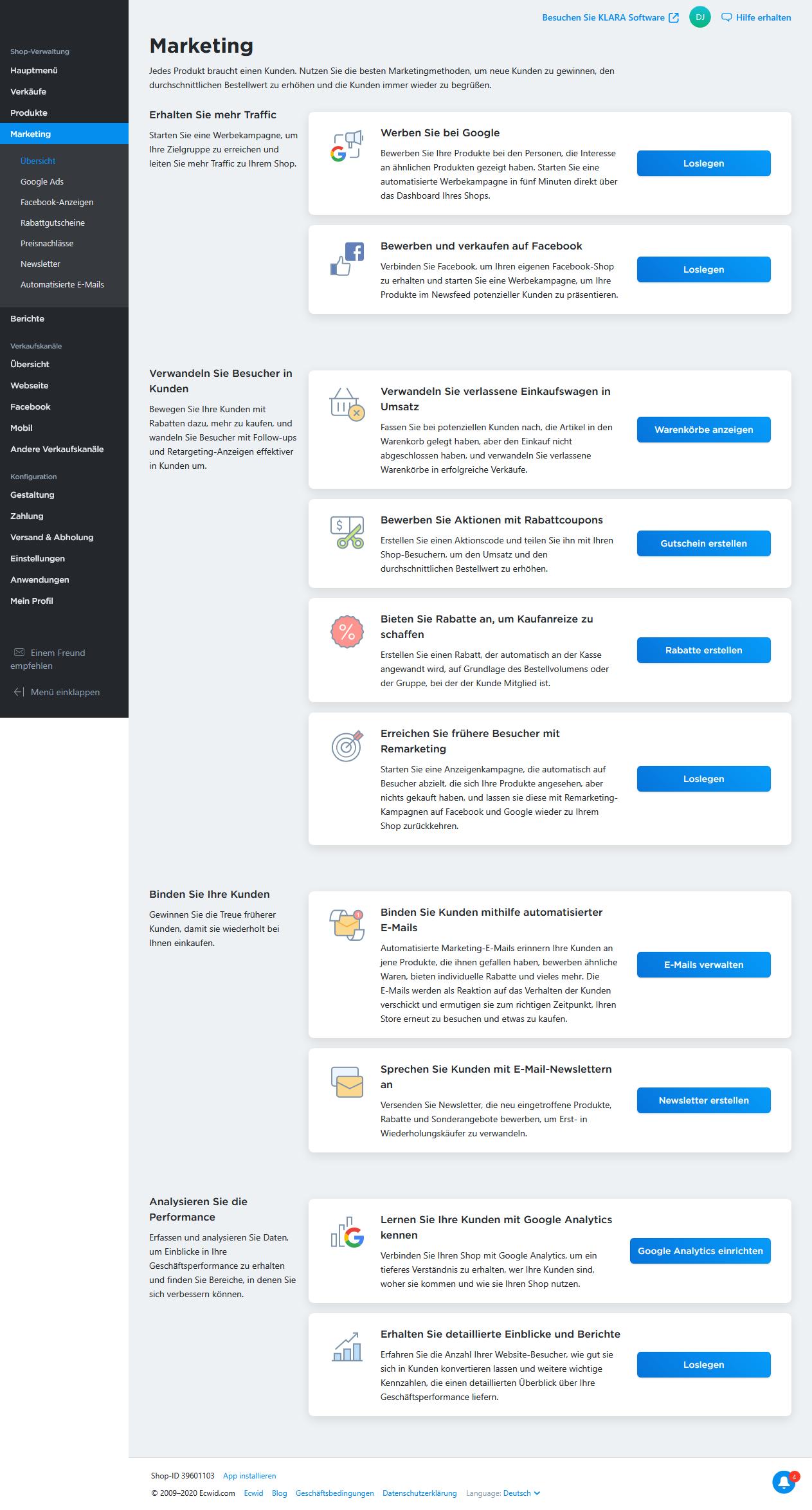 Remarketing, Newsletter versenden, automatisierte Mails und, und ...